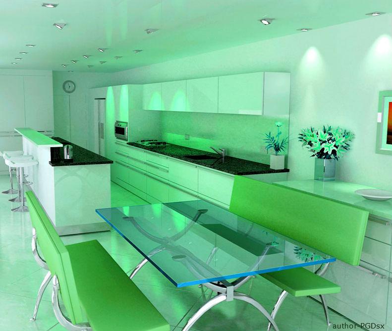 Интерьер кухни в зеленом цвете - яблочный рай