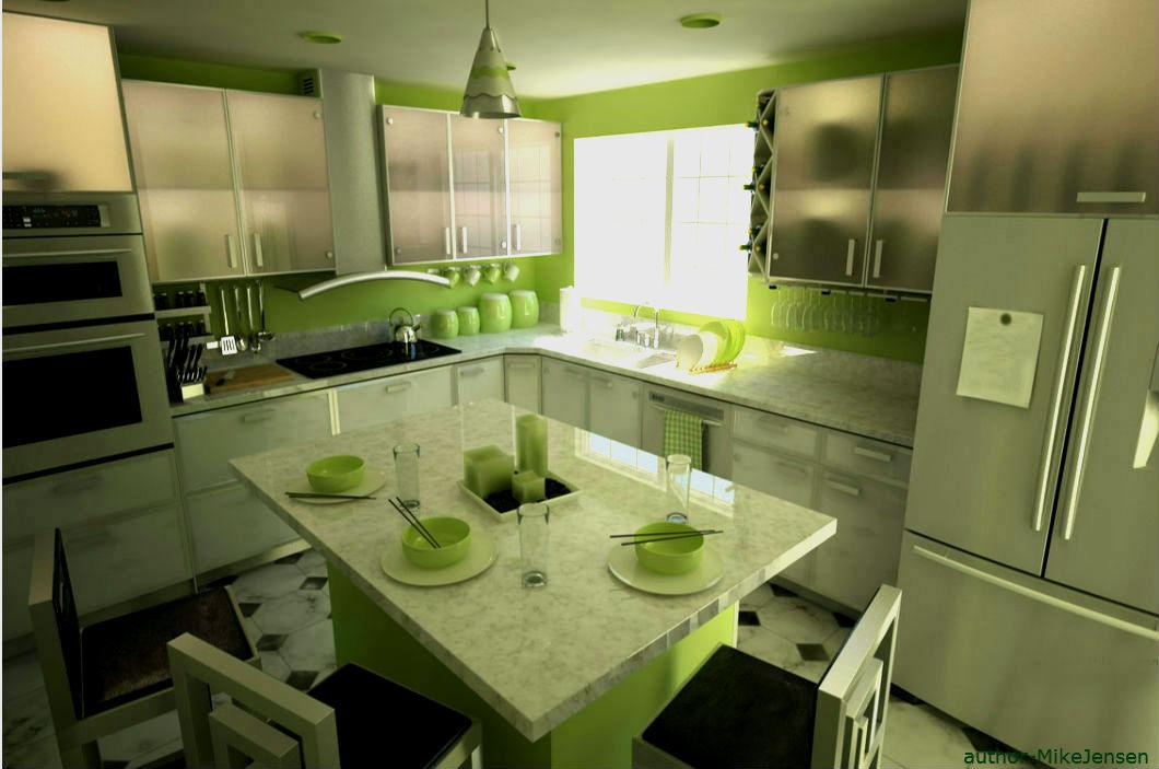 Фото салатовая кухня дизайн