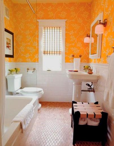 Оранжевая ванная – нежные объятия солнечных лучей