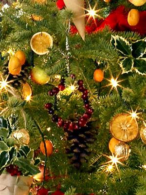 Украшение уличной елки засушенными кружочками апельсина