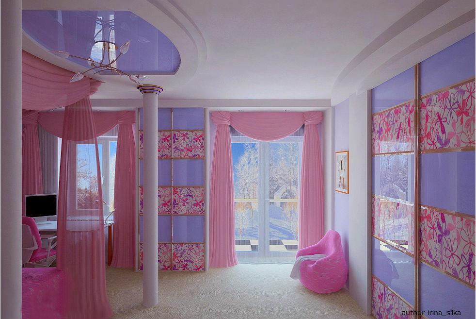Розовая детская комната для девочки подростка