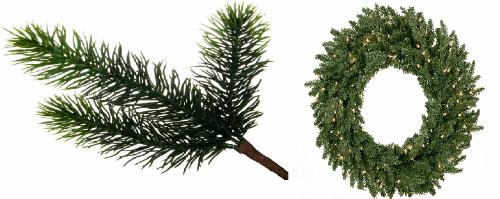 Декор еловыми ветвями и праздничными венками