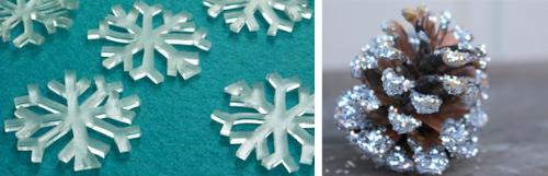 Декор пластиковыми снежинками и шишками
