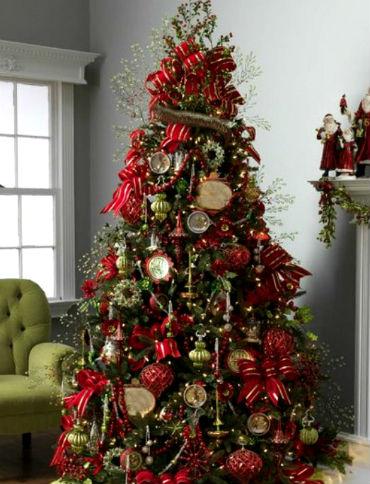 Украшения новогодней елки лентами и бантами