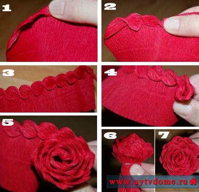 Роза крученая из гофрированной бумаги пошаговая инструкция
