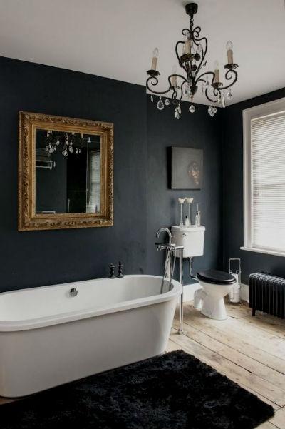, что дизайн ванной в черном цвете