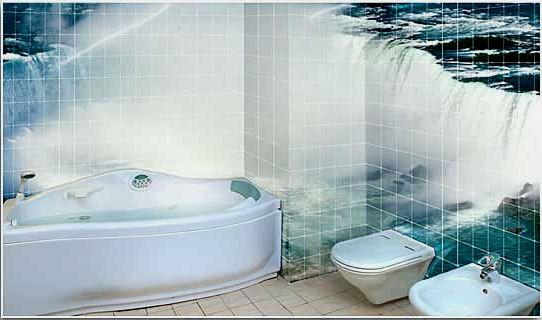 Pannello di piastrelle in bagno