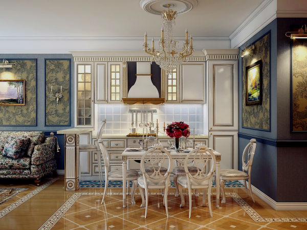 Дизайн гостиной совмещенной с кухней.