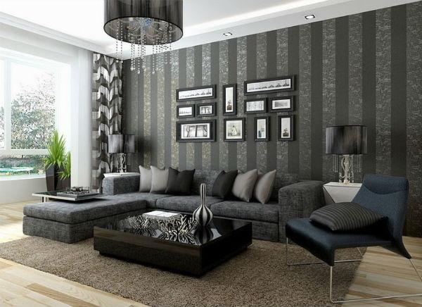 Серые обои в гостиной – стильно, строго и красиво (более 35 фото)