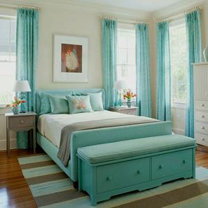 Cпальня в бирюзовом цвете.