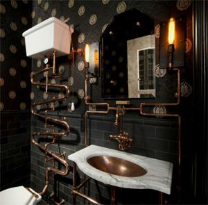 Ванная комната в черных тонах.