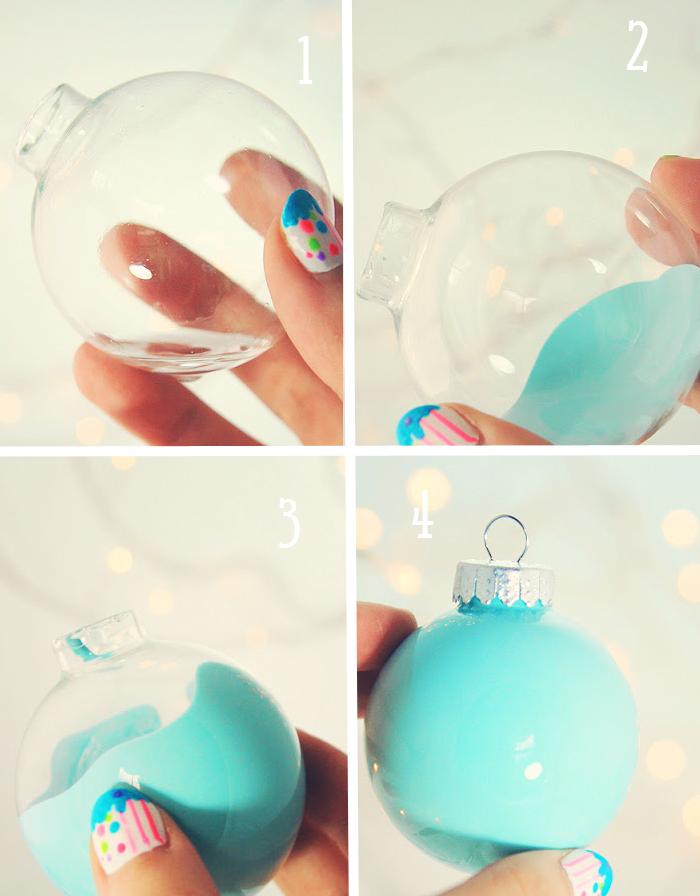 Как покрасить елочный шар краской изнутри.